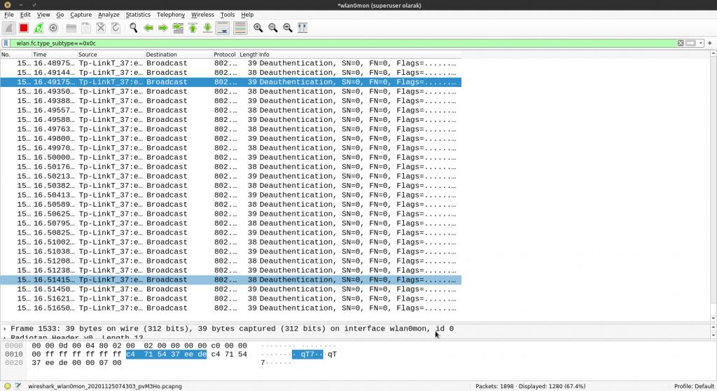 Wireshark aracı ile Deauthentication paketlerinin yakalanması