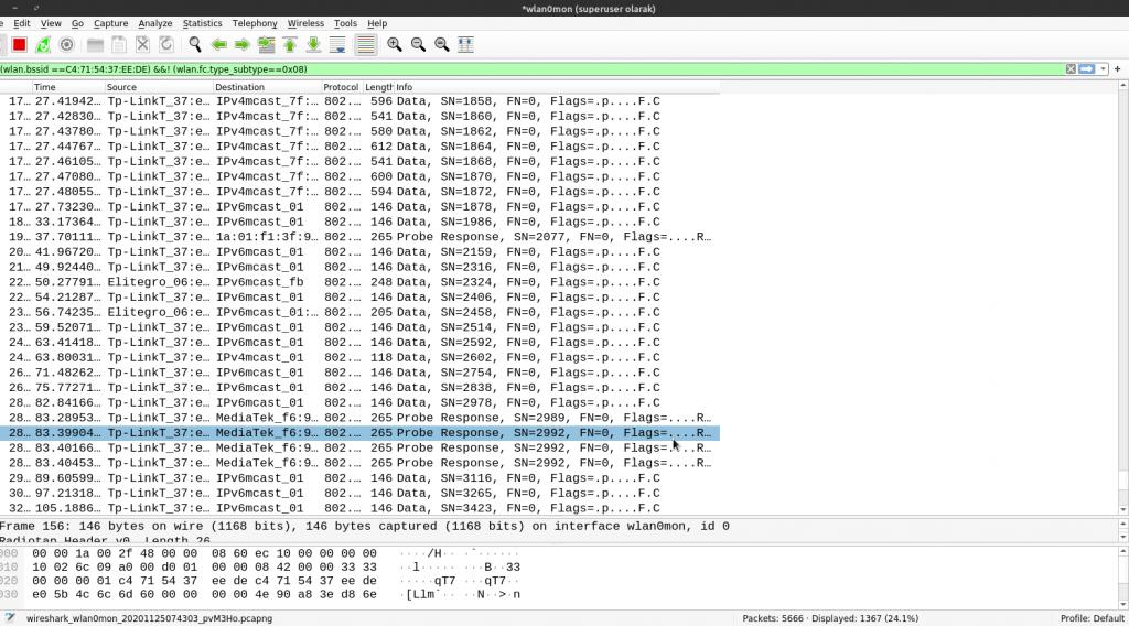 Wireshark aracı ile Probe Request ve Probe Response framelerinin yakalanması